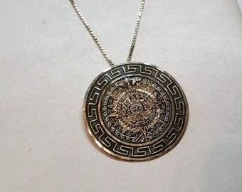 Mexico pendant Silver 925 solar calendar of Aztec handmade old SK312