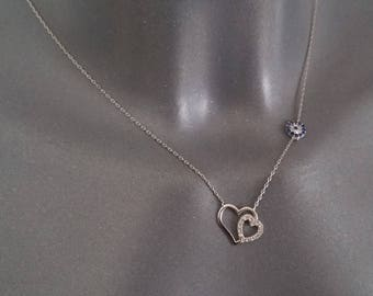 Petite silver necklace 925 crystals blue and heart clear flower SK1037