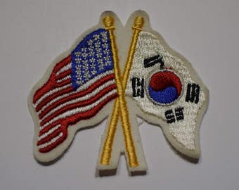 Vintage Korea and USA Flags Patch