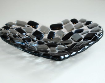 Monochrome Heart Dish Black and Grey Tealight Candle Holder Fused Glass