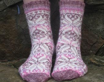 Hand Knit Socks, Merino Wool, Fair Isle, Nordic Snowflake Star, Womens 7-9, Purple, Pink, White, fairisle, Scandinavian, Norwegian