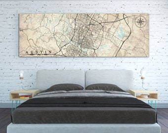 AUSTIN TX Canvas Print Texas Vintage map Austin tx Vintage map Austin City Horizontal Large Long Wall Art Vintage map Oversized poster map