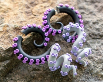 Octopus Gauges, Inspiration Fake Plugs, Cheshire Cat Fake Gauges, Asymmetrical Ear Plugs, Octopus Earrings, Tentacle Gauges, Faux Plugs