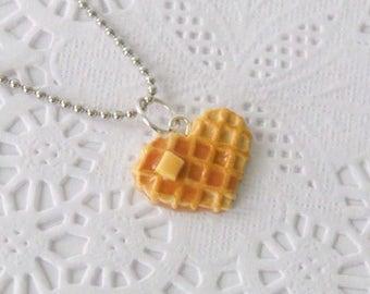 Food Jewelry, food necklace, Heart Waffle Necklace Charm,miniature food jewelry, food charm,waffle necklace, breakfast necklace, foodie gift