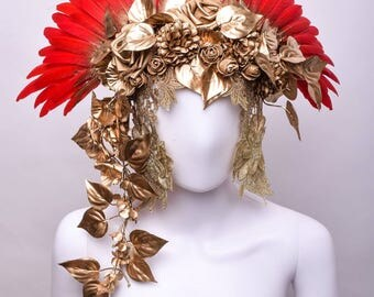 Headdress - Wings and Golden Flowers - Goddss - Crown - Mythical Faerie - Beauty Queen - Fantasy - Angel-  Cosplay - Burning Man - Festival
