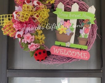 Made to Order Home Sweet Home Grapevine Wreath/Front Door Wreath/Spring/Summer/Ladybug Wreath/Everyday Wreath/Welcome/Housewarming Gift