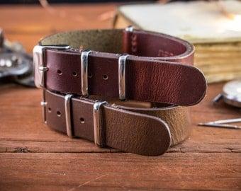 18mm Dark Brown or dark english red genuie leather nato strap, vintage style strap, watch strap, watch band, leather strap