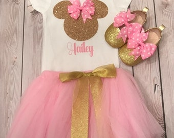 First birthday outfit girl, second birthday girl outfit, Minnie Mouse birthday outfit, first birthday mickey mouse, baby girl clothing