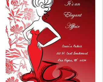 5 x 7 invitations - red - red invitations - elegant invitations - red gown - elegant lady invitation - elegant - red florals