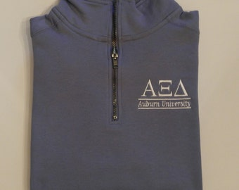Alpha Xi Delta, Quarter Zip Pullover, Greek Letters Pullover, Sorority Sweatshirt