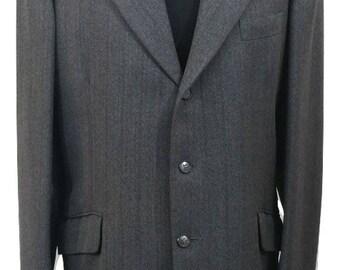 Vintage Suit Chest 40 W34 L31 Dark Grey 1990s Alexandre of England Mens Suit Wedding Office Formal Races Christening