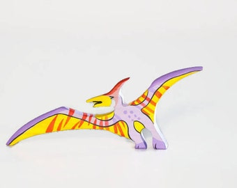 Wooden Pterodactyl toy Dinosaur figurine Play Set for boys Pre-historic animals Pretend play Learning toys for toddlers