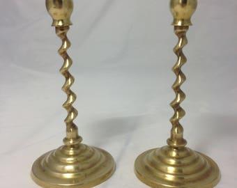Curve Vintage Glass Candlesticks