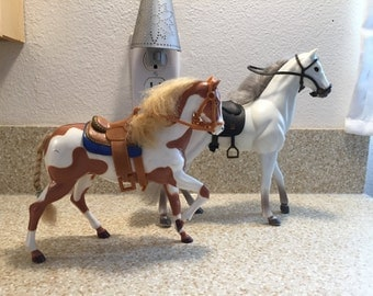 1990s Vintage Horse Figures - Miniature - Plastic - Two Horses Included - Kids Toy - White with Brown Spots & White with Grey Hair