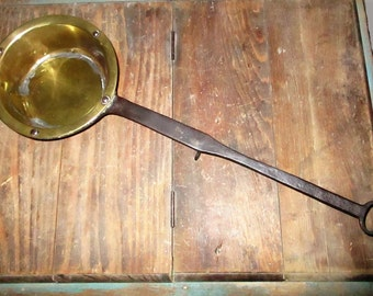 Antique Primitive Brass Lined Long Handled Wrought Iron Pot Ladle Sauce Pan Dipper With Scrolled Rest