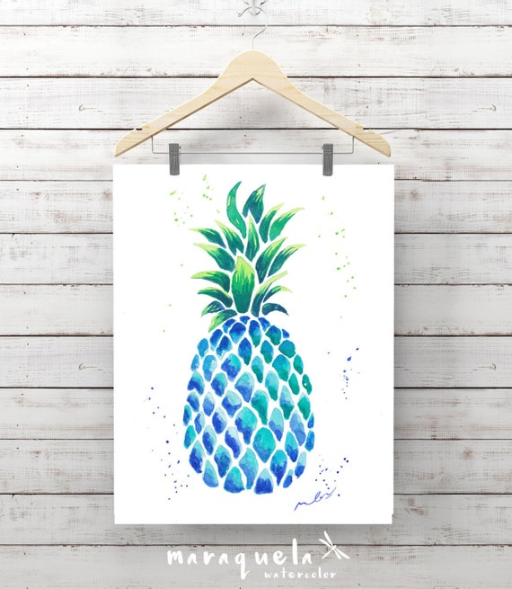 BLUE PINEAPPLE illustration in original watercolor. Artwork, decoration, ananas, colorful, ideas decor kitchen, living-room, prints pineaple