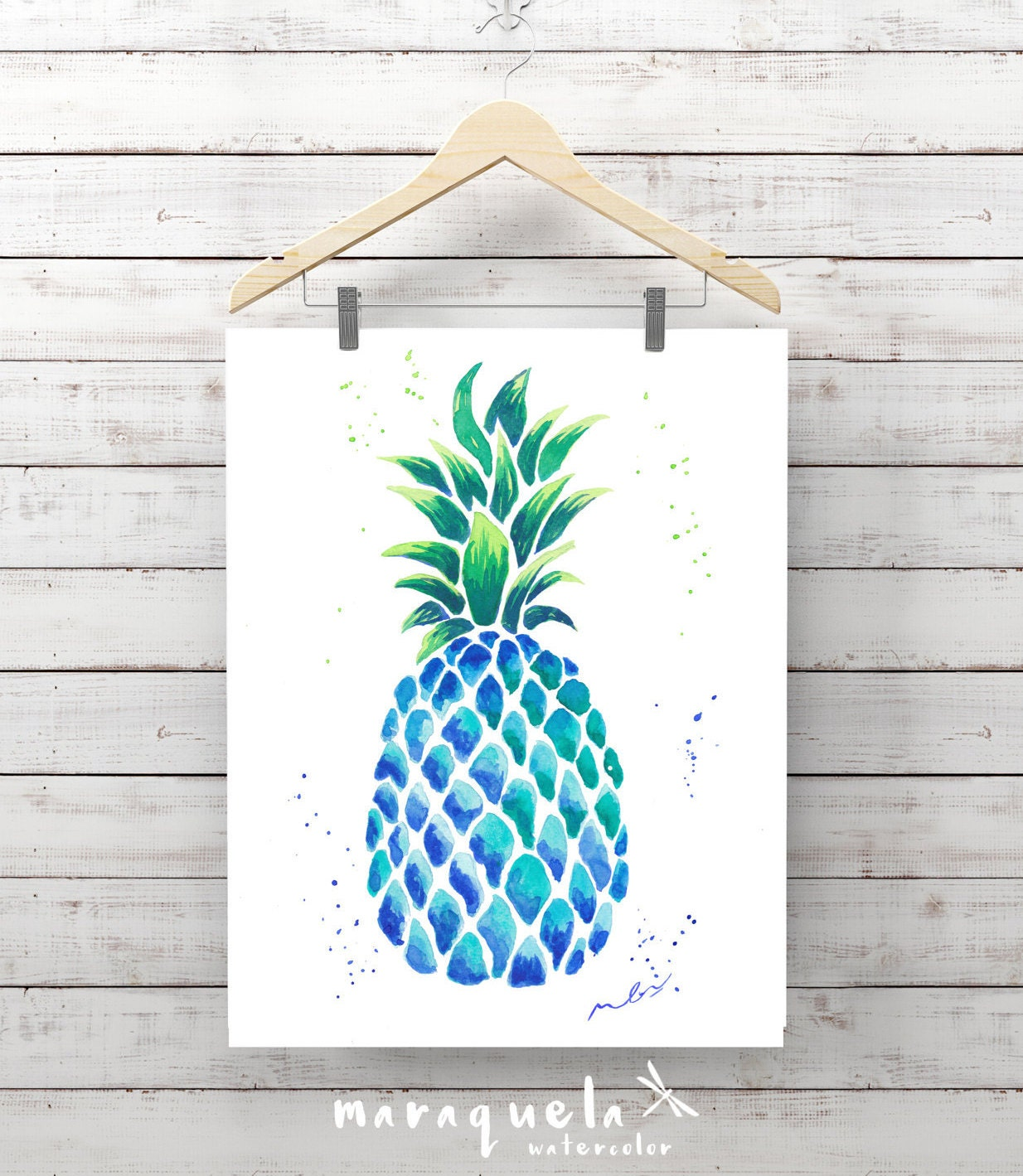 BLUE PINEAPPLE illustration in original watercolor. Artwork ...