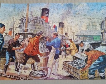 Vintage Jigsaw - Complete - The Good Companion - Landing The Catch No 50 Jigsaw Puzzle Over 400 Pieces Complete In Box