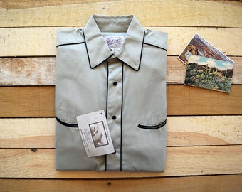N.O.S. ROCKMOUNT Ranch Wear Vintage Collection Tan Cotton Gabardine Western Shirt with Black Snaps Piping and Smile Pockets