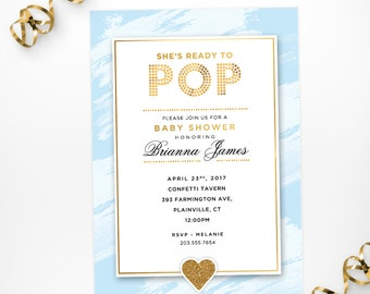 Blue Ready to Pop Printable Baby Shower Invitation, Baby Blue Boy Printable Baby Shower Invite, She's Ready to Pop Boy Baby Shower Invite