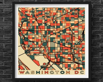 Washington Dc Wall Art dc city map | etsy