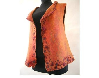 Felt multicolored vest, Felt finest merino wool vest, Felted sleeveless garment, Machine embroidered, OOAK