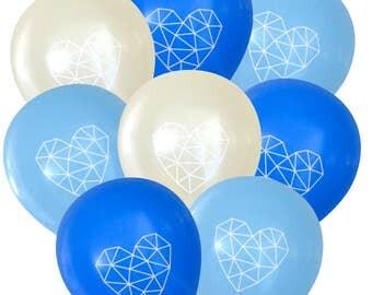 Geometric Heart Balloons Baby Boy -Pack of 8 | Himmeli Birthday Decorations Sweet Sixteen Baby Shower Boho Bohemian String Art Dream Catcher