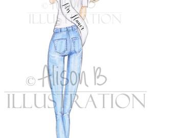 Bridal shower invitation- Bridal shower- Hen invitation- Bachelorette invitation - Fashion illustration-Bachelorette-engagement party-invite