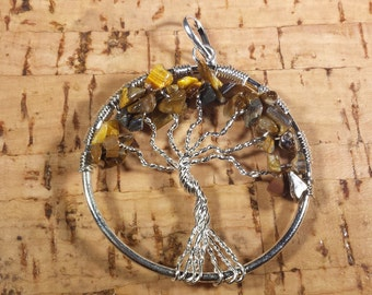 TIGER EYE Tree Of Life Wire Wrapped Pendant Stone Natural Gemstone
