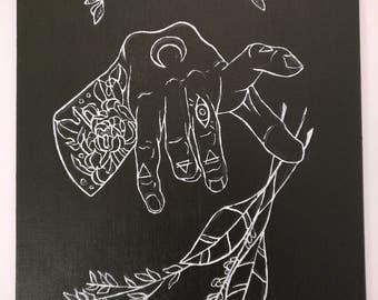 "Hand + Sage | 8""x10"" | acrylic on canvas"