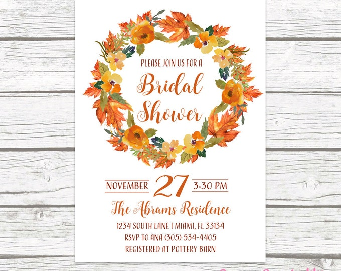 Fall in Love Bridal Shower Invitation, Autumn Falling in Love Floral Leaves Wreath Wedding Rustic Invite, Printable or Printed Invitation