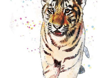 Tiger Cub - animal prints, nursery art for kids decor room wall art for children