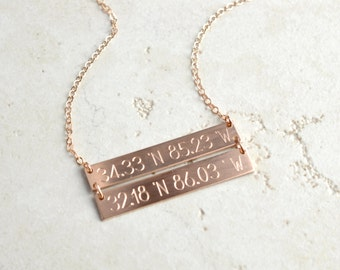 Double Bar necklace, coordinates necklace, linked bar necklace, Personalized Bar Necklace, Gold Bar Necklace, custom necklace