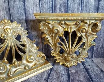 Vintage Wall Sconce Shelves | Hollywood Regency Ornate Wall Shelves