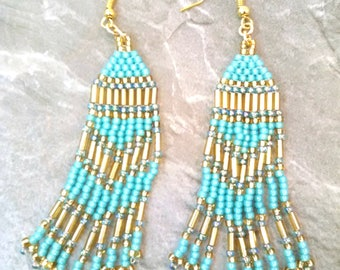 Teal Native American Earrings - Seed Bead Earrings - Fringe Earrings - Hippie Earrings - Beaded Earrings - MADE TO ORDER