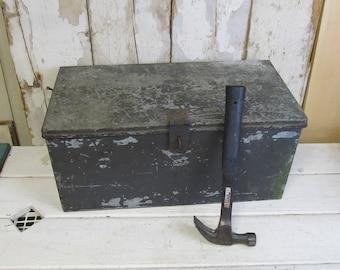 Vintage Galvanized Metal Trunk , Storage