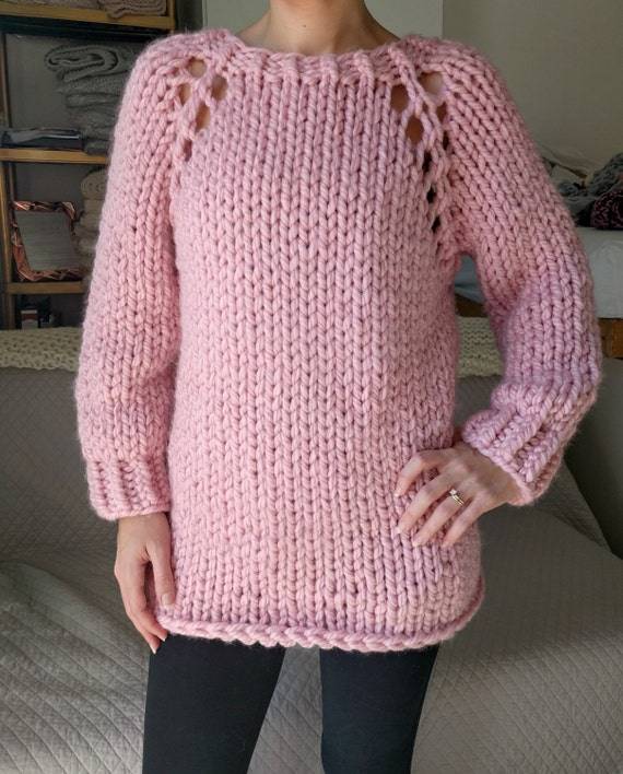 Knitting A Sweater For The First Time : Chunky knit sweater pattern top down raglan