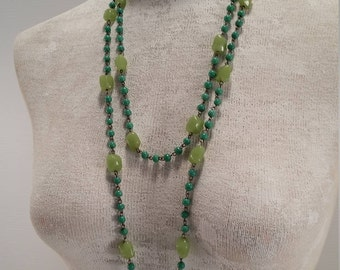 Sea Green and Granny Smith Apple Green Glass Bead Necklace, Single Strand Large and Small Green Glass Beads, Linked Glass Bead Necklace