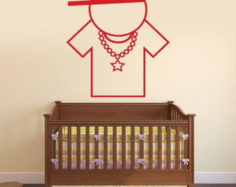 Wall Vinyl Decal Cartoon Rapper Funny Kid's Room Music Decor Modern Focal Point (#2412dn)