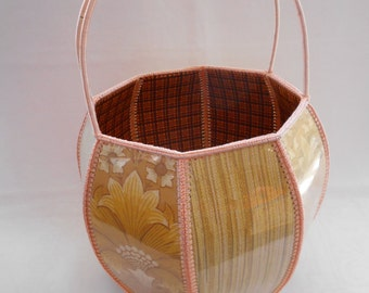 Vintage Handmade Card and Crochet Shopping Basket Autumn Tonings 1960's  #20050