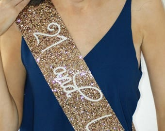 21st Birthday Sash -  21 and Legal - Glitter Sash - Personalised Sash - Any Age  - gold glitter handmade sparkle - can be personalised