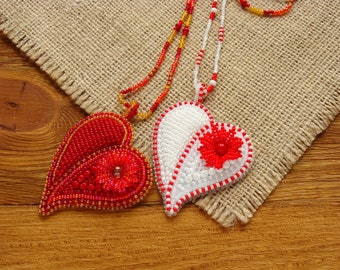 Beaded heart pendant, beadwork heart pendant, heart necklace pendant, bead embroidery heart pendant, bead embroidered heart jewelry necklace