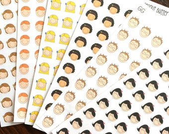 People Planner Stickers - Multiple Hair Styles & Skin Tones - Faces Stickers - Children Stickers - Family Stickers