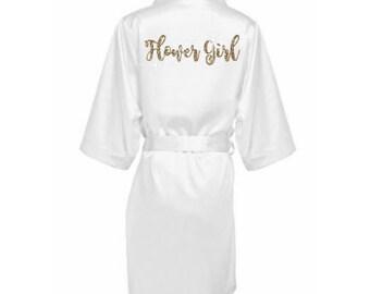 Silk Flower Girl Robe - Flower Girl Robe - Satin Flower Girl Robe - Flower Girl wedding Gift - Silk Robe - Personalized Satin Robe