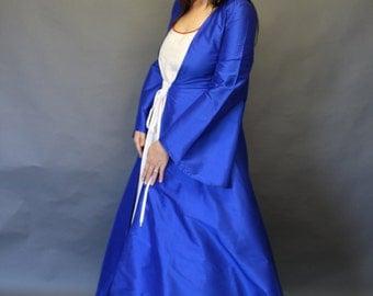 Winterfell; Medieval Gown; Midi; cobalt blue dupion silk; WIN#42
