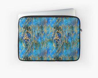 Blue and Gold Swirls Laptop Sleeve! Multiple Sizes Available!