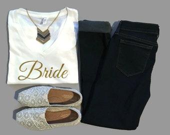 Bachelorette Party Shirts Bridal Party Shirts Vegas Bachelorette Party Shirts Gold Glitter Bride and Squad V-neck shirts Bachelorette Tshirt