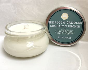 Sea Salt & Orchid Scented Soy Candle - Gift for Her - Housewarming Present - Mother's Day Gift - Natural Soy Candle - Gift for Mom