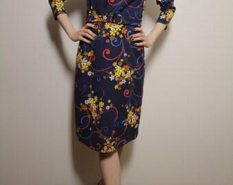 Vintage Midi Dress Floral Print Long Sleeve Dress Eu 36/38