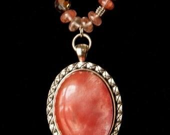 Translucent Pink Cobochon Necklace
